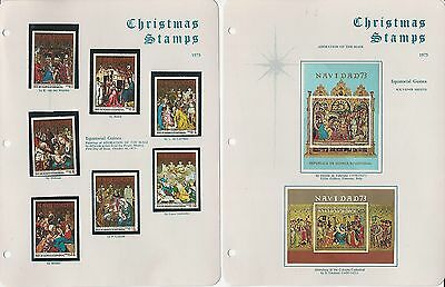 Equatorial Guinea Christmas Stamp Collection, 1971-74, Mint NH Sets, 12 Pages
