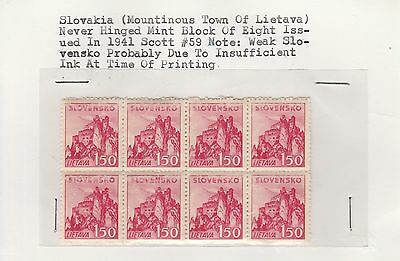 Slovakia 1941 Mountinous Town of Lietava block of eight stamps