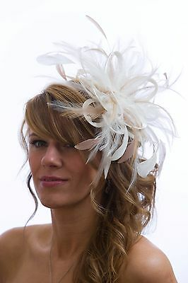 Ivory & Taupe Nude Wedding Fascinator Hat/any satin/highlight feather colour