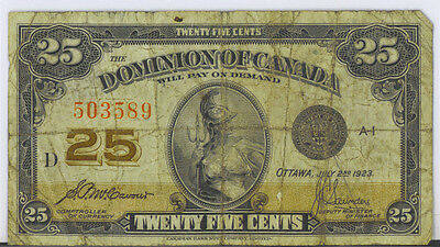 Dominion Canada 1923 25 Cents Shinplaster McCavour-Saunders No Authorized VG