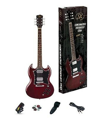 SX SG Style Electric Guitar & Amp Pack Wine Red Solid Body HH *NEW* Essex
