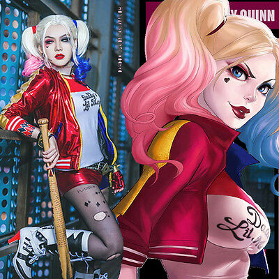 Suicide Squad Harley Quinn Perruque Jacket Shirt Costume Halloween court cosplay
