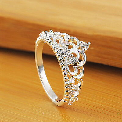 Fashion Women Princess Queen Crown Crystal Ring Silver Plated Wedding Rings