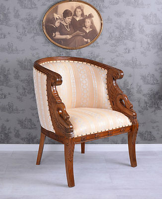Vintage Chair Empire Armchair Swans Mahogany Wood Antk Chair