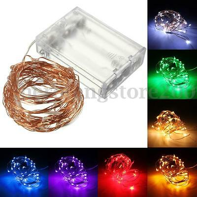 10M 100LED Battery Powered Copper Wire String Fairy Xmas Party Wedding Lights