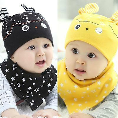 Lovely Baby Boy Girl Sleep Hat Cap+Newborn Saliva Towel Triangle Head Scarf Set
