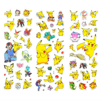 Hot Cute 3pcs Pokemon Stickers Pikachu Pocket Monster Scrapbooking Sticker Sheet