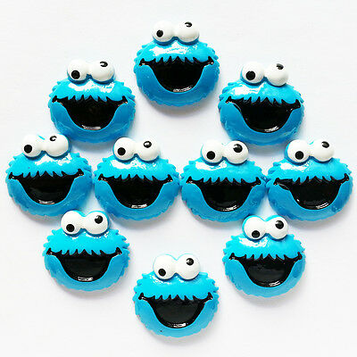 10 pcs Sesame Street Cookie Monster Resin Flatback Scrapbooking Hair Bow Crafts