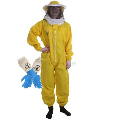 [UK] Buzz Basic Beekeeping Yellow Round Veil Bee Suit & Latex Gloves SELECT SIZE