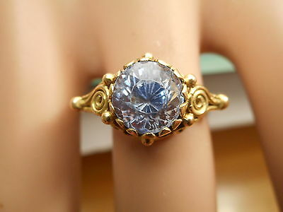 Fine Antique Arts & Crafts Gold & 3.5Ct Natural Cornflower Sapphire Ring Size Q
