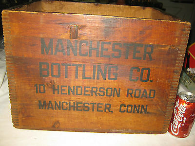 Antique Country Primitive Wood Town Club Bottle Manchester Ct Soda Bottle Box Us