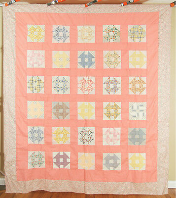 WELL PIECED Vintage Churn Dash Monkey Wrench Antique Quilt Top ~MINT CONDITION!