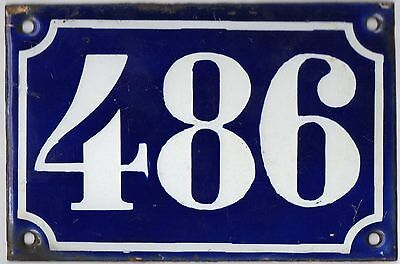 Old blue French house number 486 door gate plate plaque enamel metal sign c1900