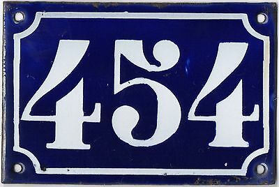 Old blue French house number 454 door gate plate plaque enamel metal sign c1900