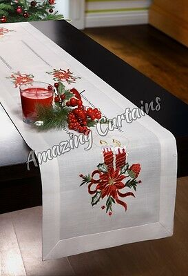 Christmas Tablecloths Table Runners Embroidered Candles Xmas Linen Effect