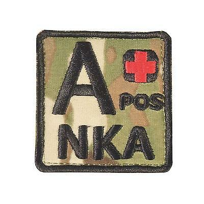 A+ APOS NKA blood type multicam MTP embroidered NKDA army patch VELCRO® brand