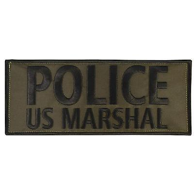 POLICE US MARSHAL large XL 10x4 inch olive drab OD embroidered fastener patch