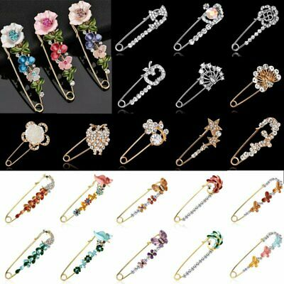 Wedding Brooch Pin Safety Pin Gold Silver Flower Pearl Crystal Men Woman Jewelry