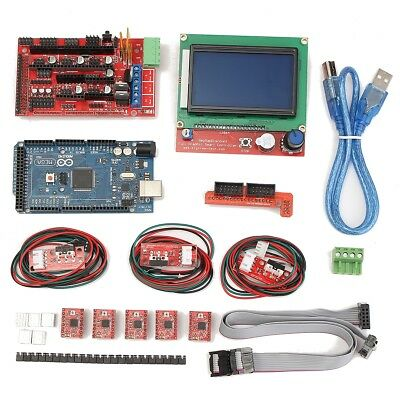 3D Printer Kit Arduino Reprap RAMPS 1.4 + Mega2560 A4988 Drive + 12864 LCD Board