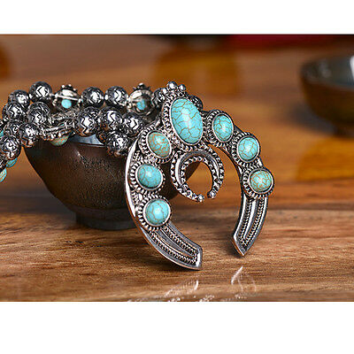 Faux Silver Turquoise  Black Blossom Necklace Navajo Beaded Liquid Zuni Inlay