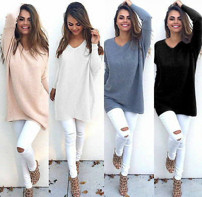 Women Casual Long Sleeve Knitted V Neck Pullover Loose Sweater Jumper Knitwear