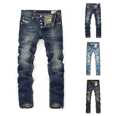 Mens New Long Straight Slim Fit Jeans Casual Skinny Denim Pants Classic Trousers