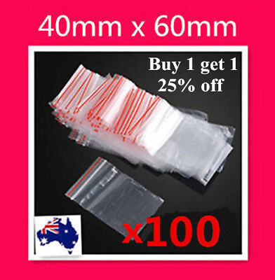 100 Small 4x6cm 40x60mm Zip Lock Plastic Bag Resealable Ziplock Bag Coin Jewelry