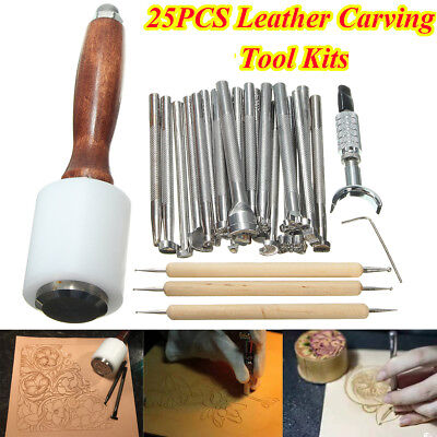 25PCS Leather Carving Craft Kit Hammer Embossing Manual Stamp Beveler Tools Set