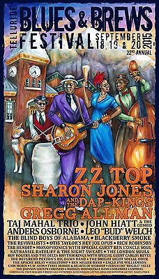 "Zz Top /gregg Allman ""blues & Brews Festival"" 2015 Telluride Concert Tour Poster"