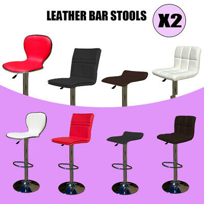 2 x New PU Leather Bar Stool Kitchen Chair Gas Lift Black White Red Brown