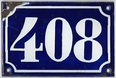 Old blue French house number 408 door gate plate plaque enamel metal sign c1900