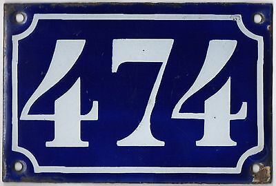 Old blue French house number 474 door gate plate plaque enamel metal sign c1900