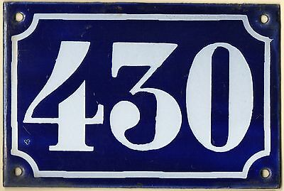 Old blue French house number 430 door gate plate plaque enamel metal sign c1900