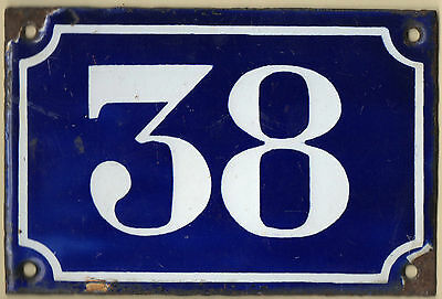 Old blue French house number 38 door gate plate plaque enamel steel sign c1900
