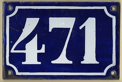 Old blue French house number 471 door gate plate plaque enamel metal sign c1900