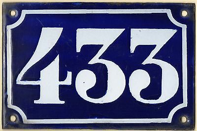 Old blue French house number 433 door gate plate plaque enamel metal sign c1900