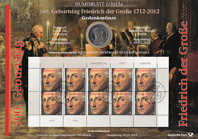 Numisblätter 2012: Numisblatt 1/12 Friedrich The Great With Commemorative Coin