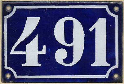 Old blue French house number 491 door gate plate plaque enamel metal sign c1900