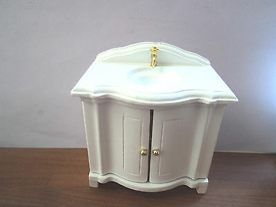 Dolls House Bathroom: White Sink unit    12th scale