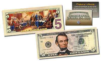 2-Sided Colorized Genuine Legal Tender US $5 Bill - Declaration of Independence