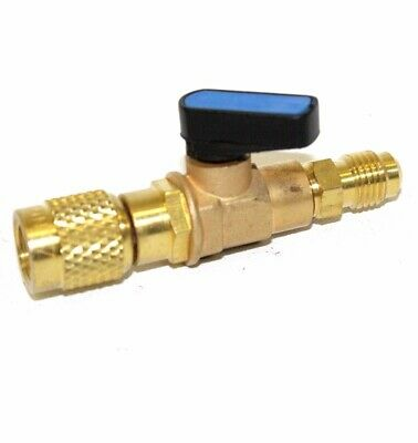 """HVAC A/C Straight SHUT-OFF  Ball Valve Adapter For R134a R22 R12 R410a 1/4"""" FIT"""