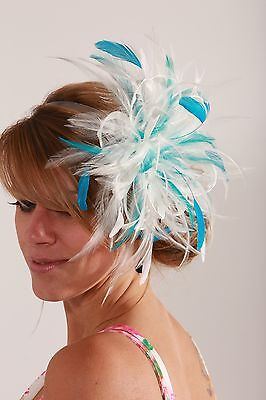 Ivory & Turquoise Wedding Fascinator Hat/any satin/highlight feather colour