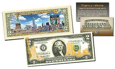Official 9/11 World Trade Center Gold Leaf & SKYLINE Colorized Genuine $2 Bill