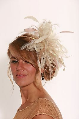 Cream & Taupe Nude Wedding Fascinator Hat/any satin/highlight feather colour
