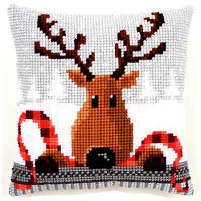 Reindeer & Scarf- Large Holed Printed Tapestry Canvas Cushion Kit - Cross Stitch