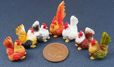 1;12 Scale 6 Handmade Chickens & A Cock Dolls House Miniature  Garden Accessory