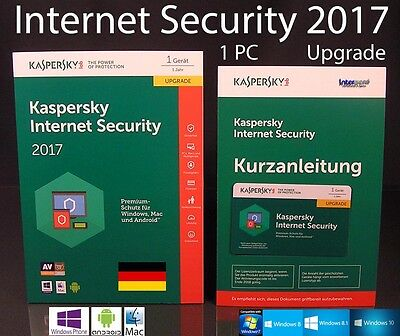 Kaspersky Internet Security 2017 Upgrade 1 PC Box + Handbuch (PDF) OVP NEU