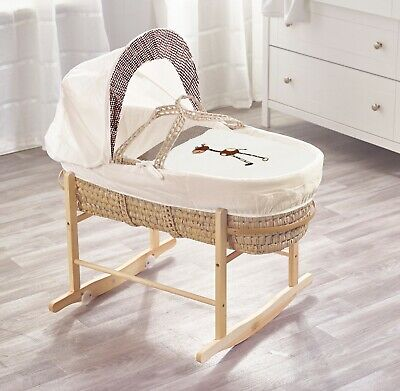 Brown Giraffe Palm Moses Basket on Deluxe Natural Rocking Stand