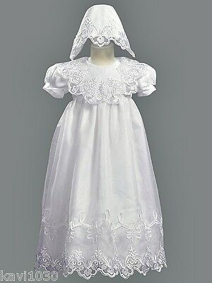 Girls Christening Baptism Gown Dress White Embroidered Organza Size 3-24M