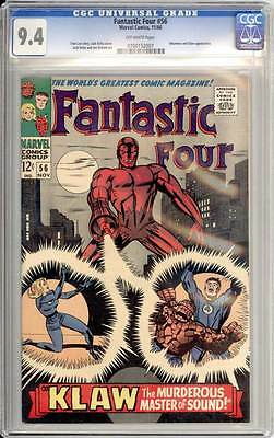 Fantastic Four # 56  Klaw, the Murderous Master of Sound ! CGC 9.4 scarce book !